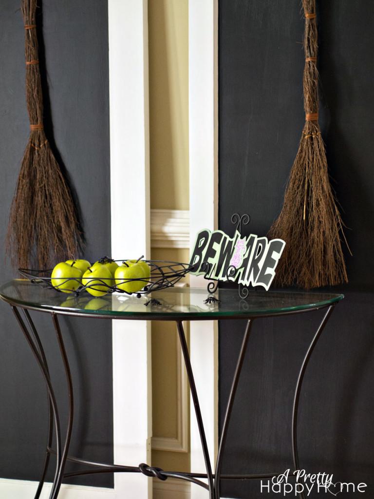 door for halloween display with broomstick found decor