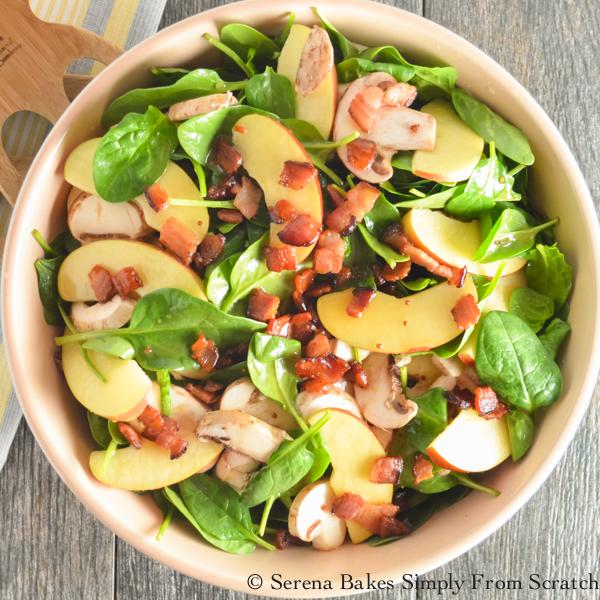 Fuji Apple Spinach Bacon Salad With Creamy Honey Mustard Viniagrette (1 of 1)