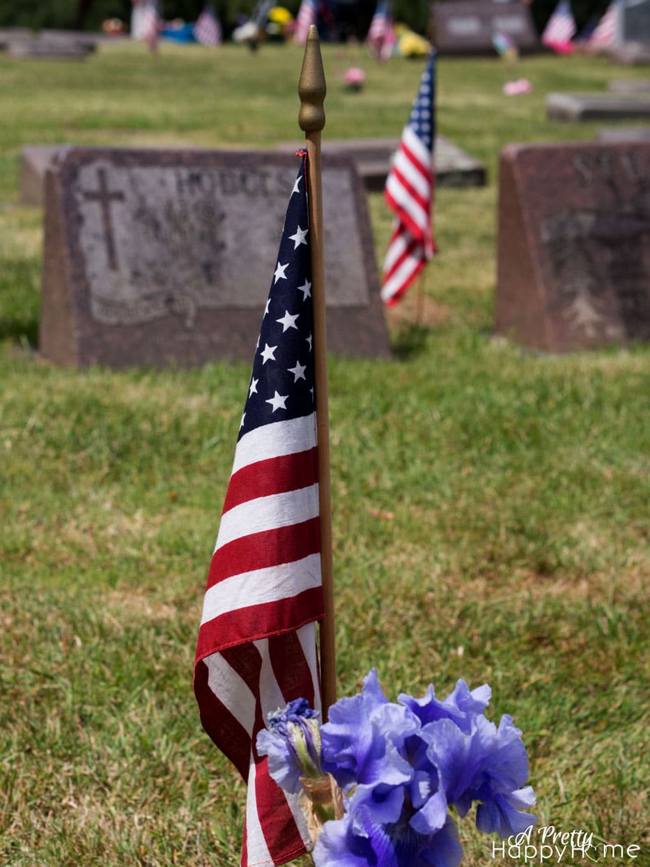 memorial day flag in a cemetery