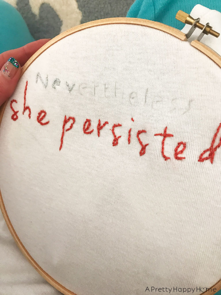 never the less she persisted diy embroidered shirt 3 projects to try while I take a blog break