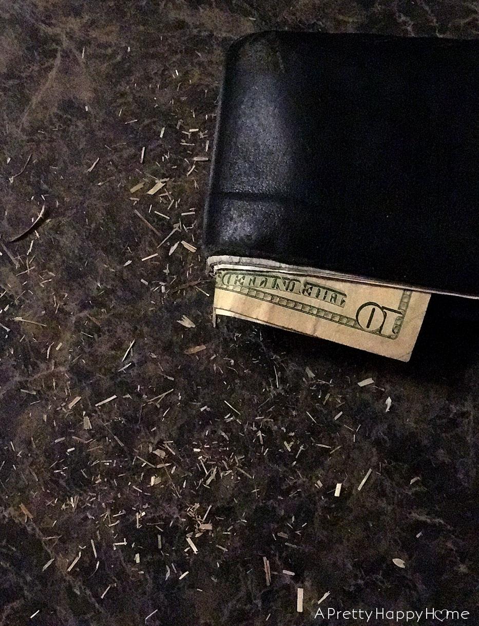 farmer wallet with hay