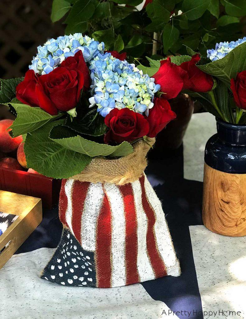 festive 4th of july ideas burlap american flag centerpiece