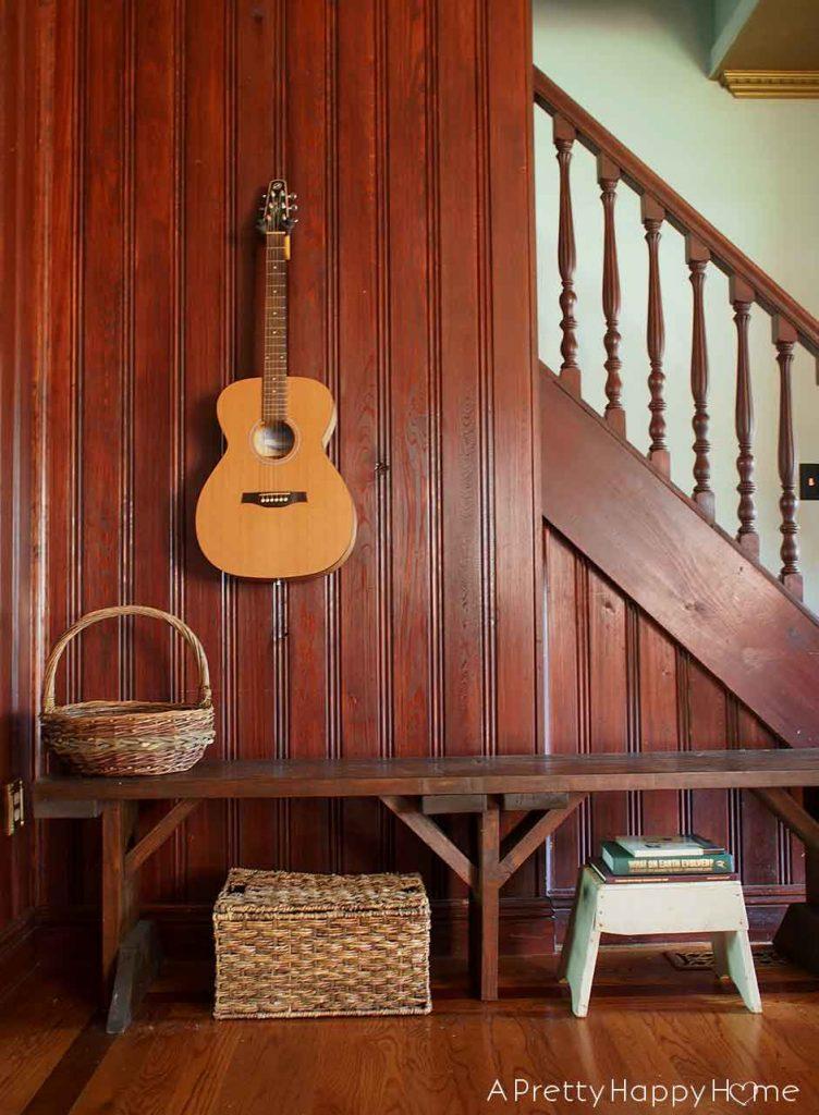 wood paneled piano room found decor