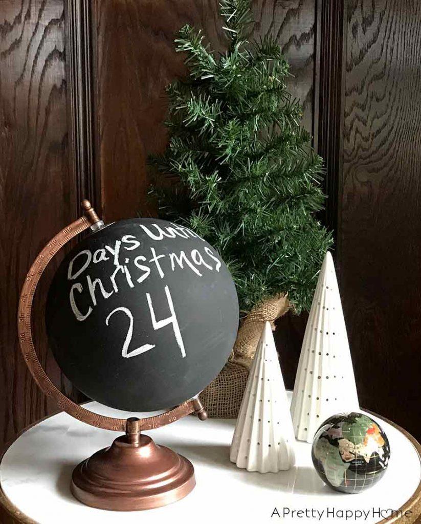 chalkboard globe advent calendar easy diy christmas decor ideas