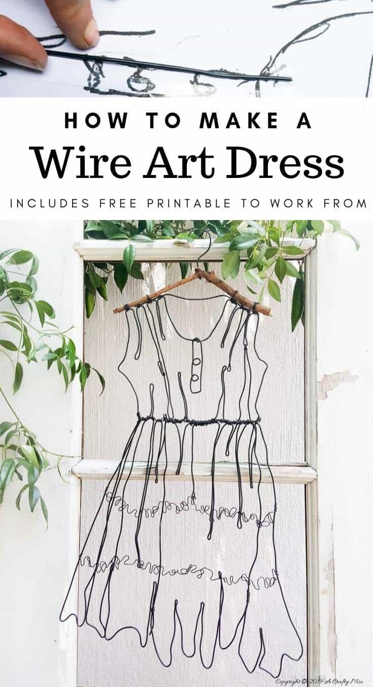 wire art dress by a crafty mix