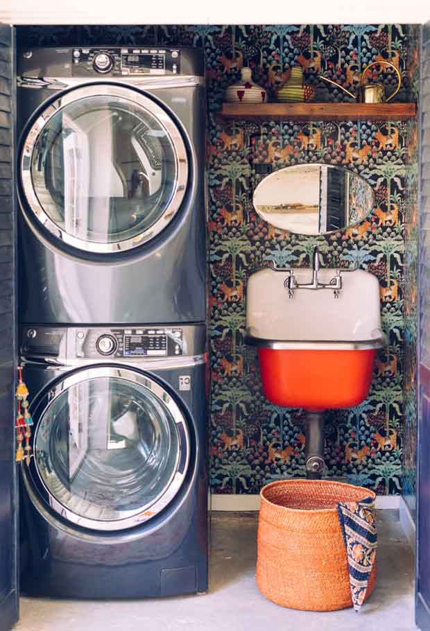 jungalow laundry room with orange sink