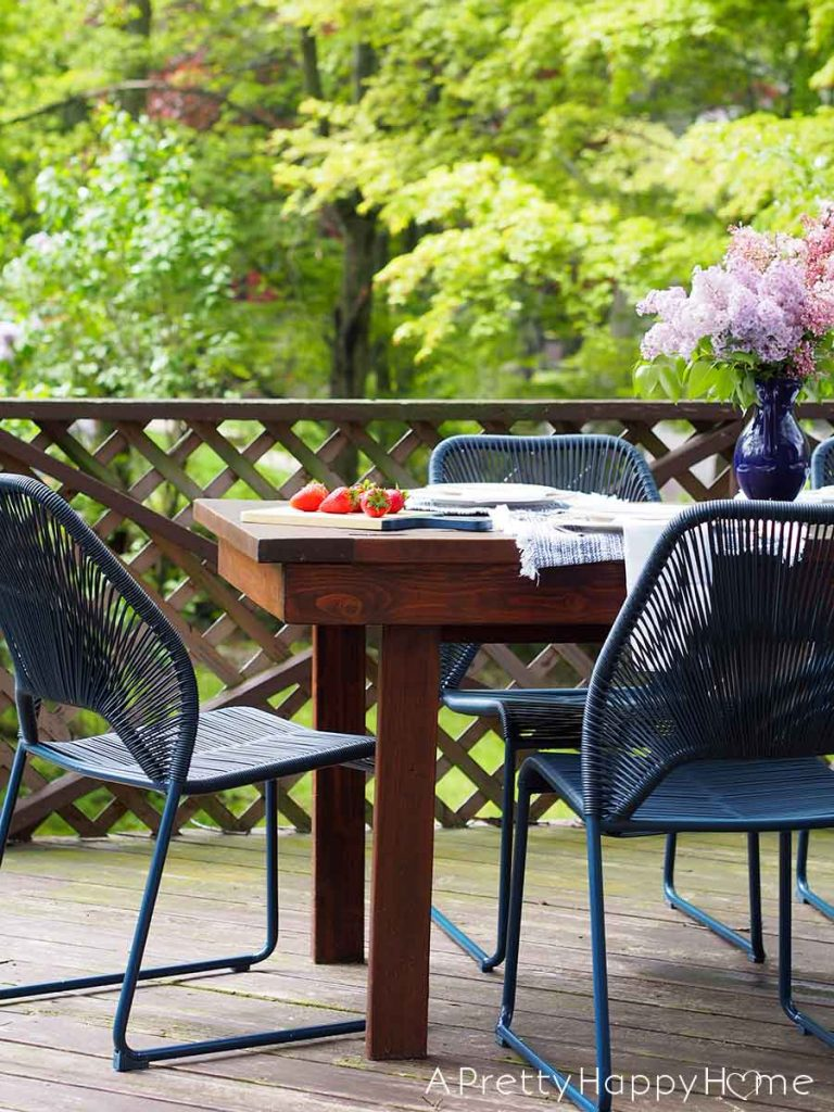 Navy Blue Outdoor Dining Chairs Add A Pop Of Color