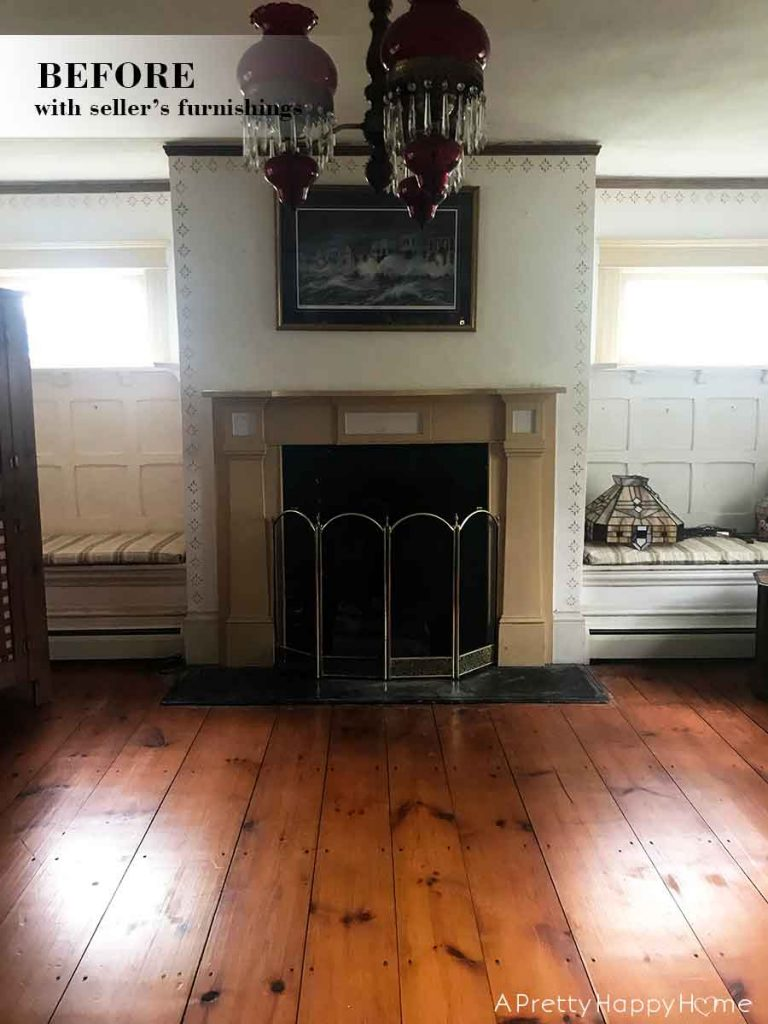 colonial farmhouse fireplace living room before