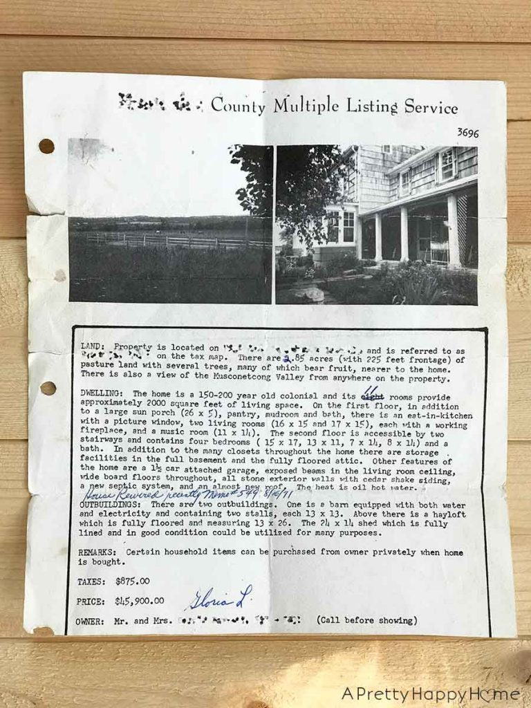 The 1971 MLS Listing For Our Colonial Farmhouse