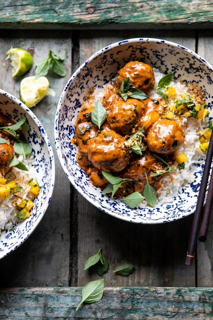 coconut curry chicken meatballs by half baked harvest on the happy list