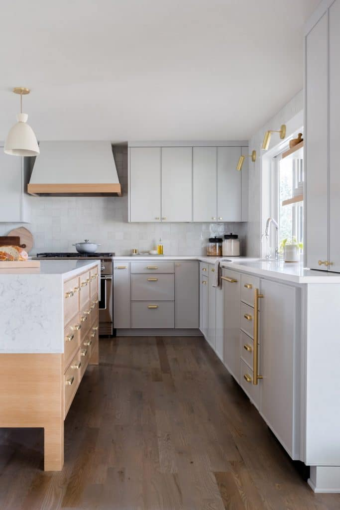 grey kitchen via rue magazine on the happy list