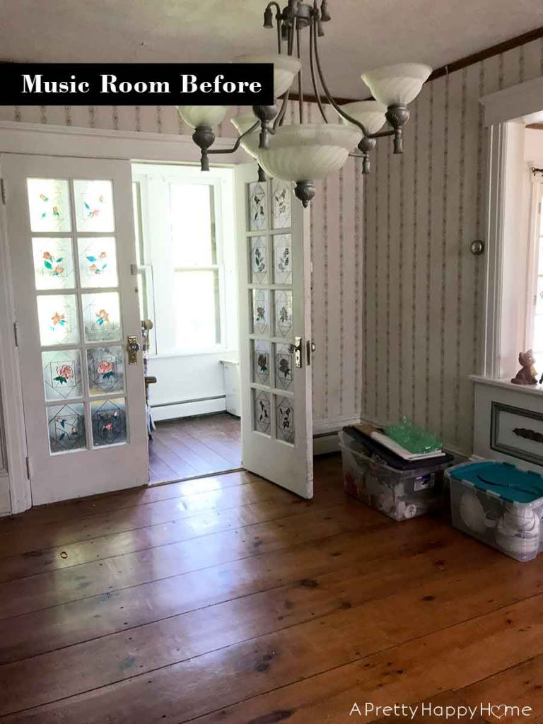colonial farmhouse music room before