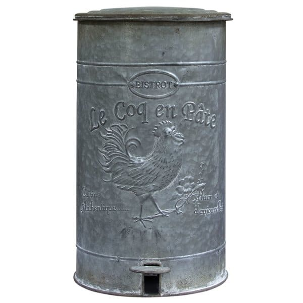 metal rooster trashcan