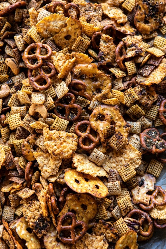 spicy ranch chex mix from half baked harvest on the happy list