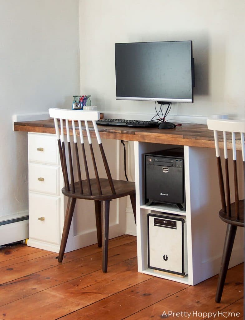 Built-In Computer Desk in our colonial farmhouse