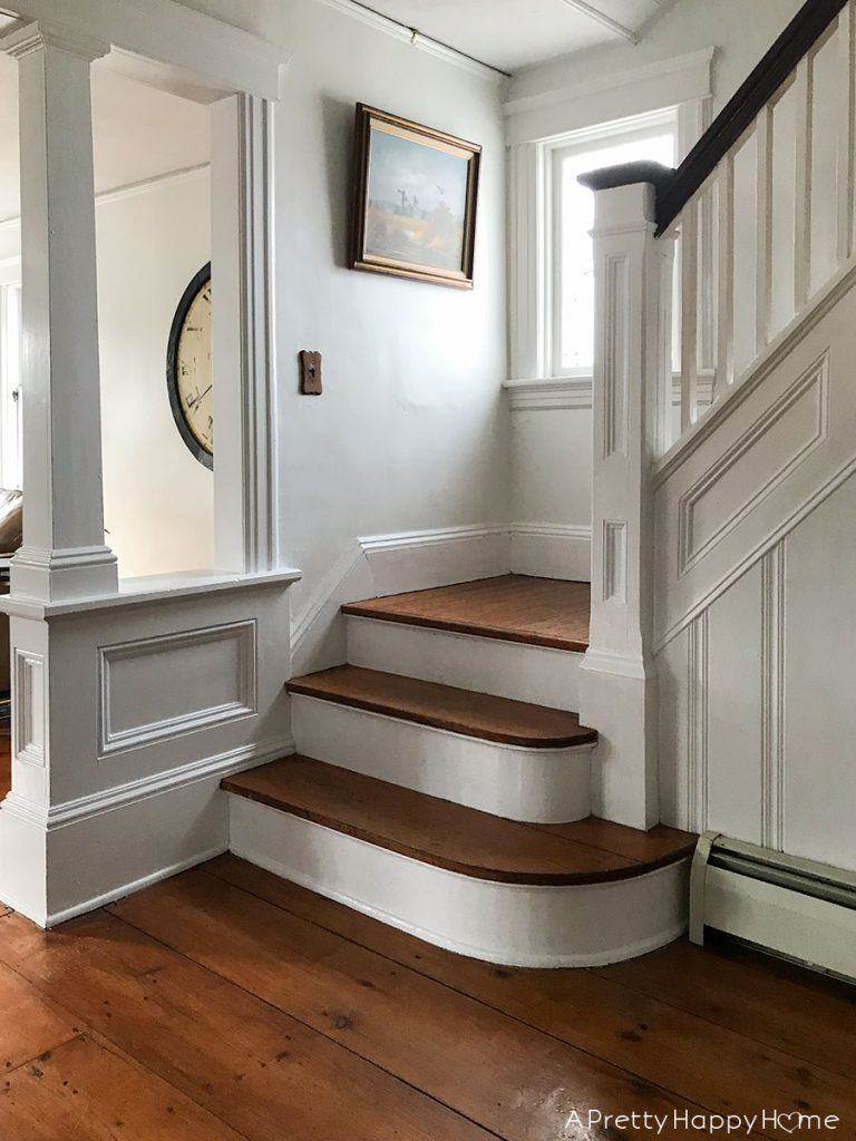 main staircase colonial farmhouse 6 month progress report