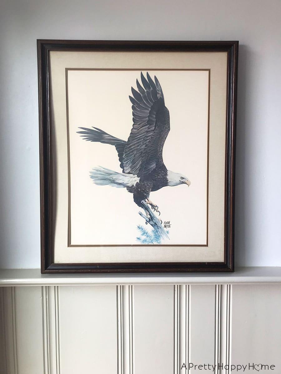 thrift store find hugh hirtle eagle print