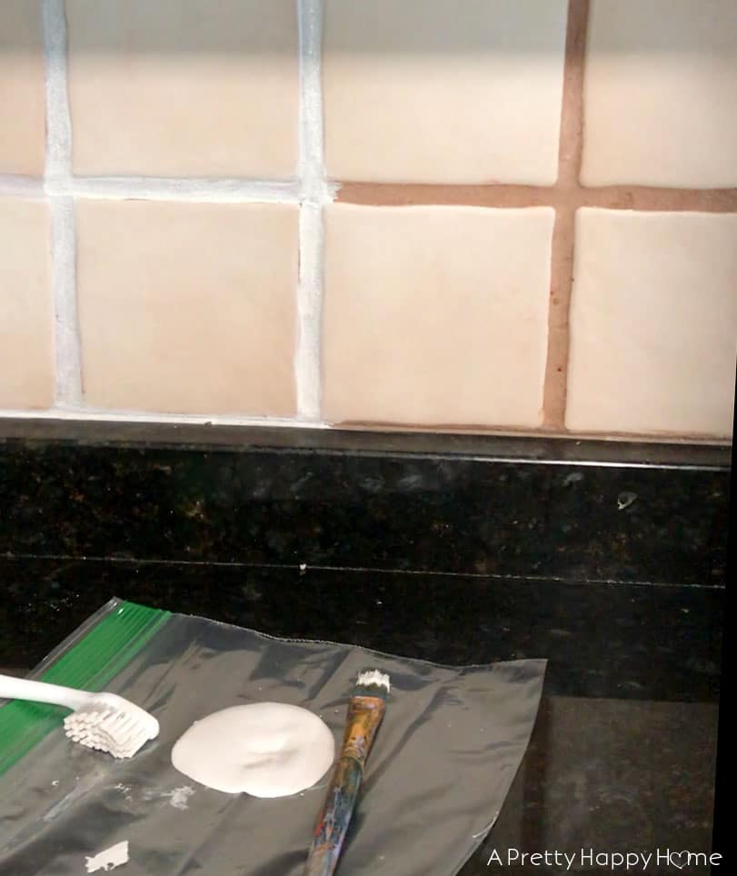 Kitchen Mini Makeover Reveal grout renew to change color of tile