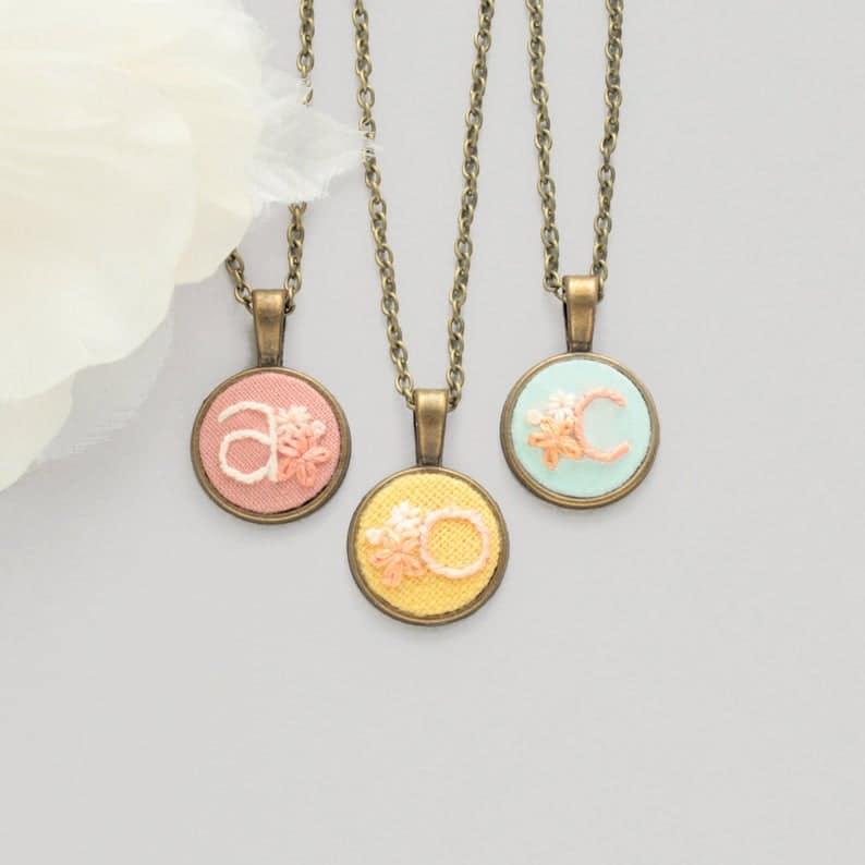 embroidered initial necklace oh my heart embroidery via etsy on the happy list