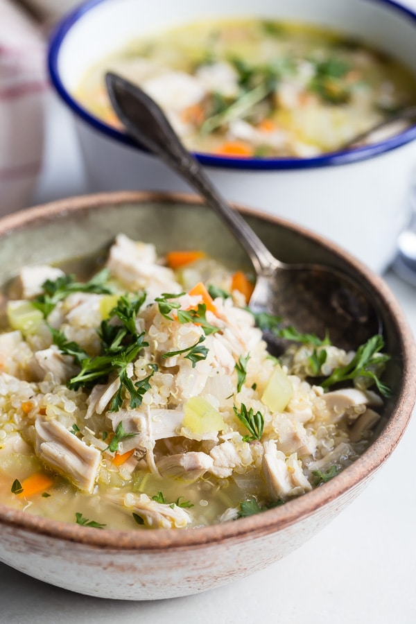 chicken quinoa soup with lemon juice from culinary hill on the happy list