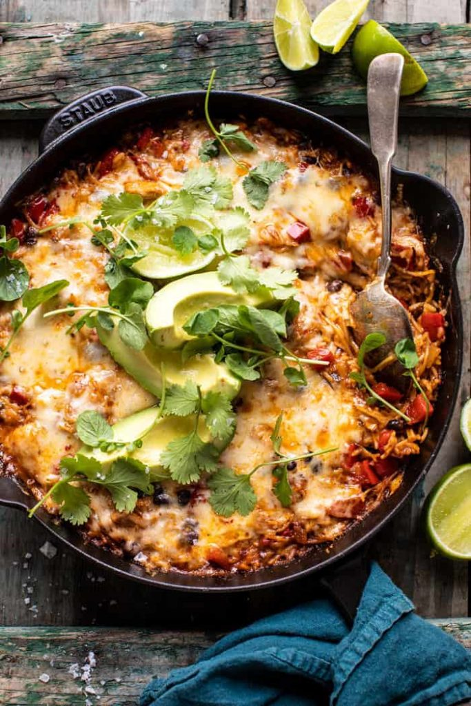 one skillet cheesy cuban chicken rice bake by half baked harvest on the happy list