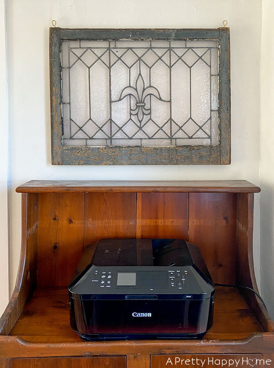 Dry Sink Printer Stand leaded glass window decorating