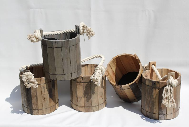 pallet wood well bucket via etsy