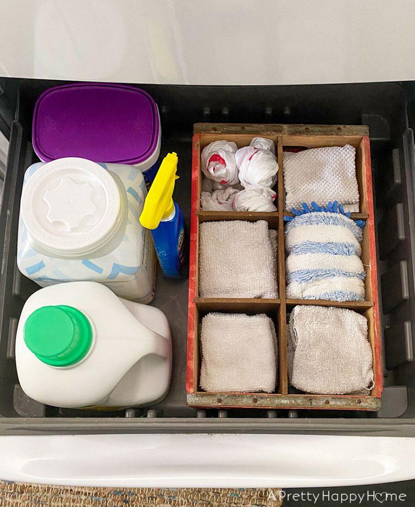 Practical Uses for Soda Crates rag holder plastic bag holder