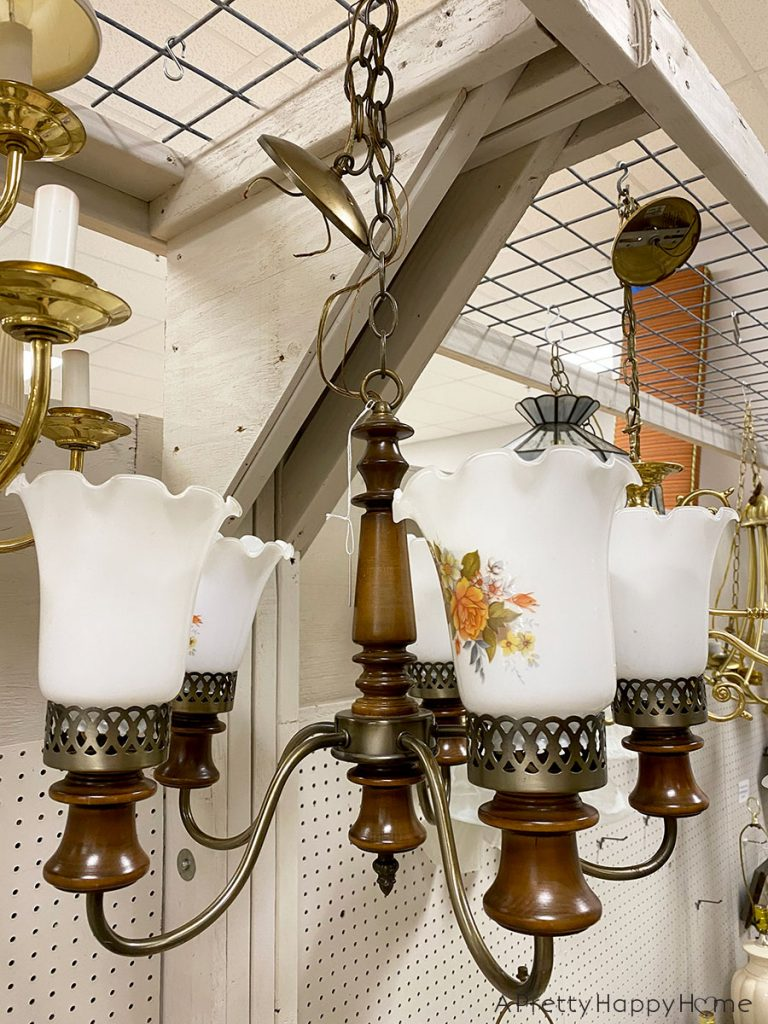 music room wood chandelier before