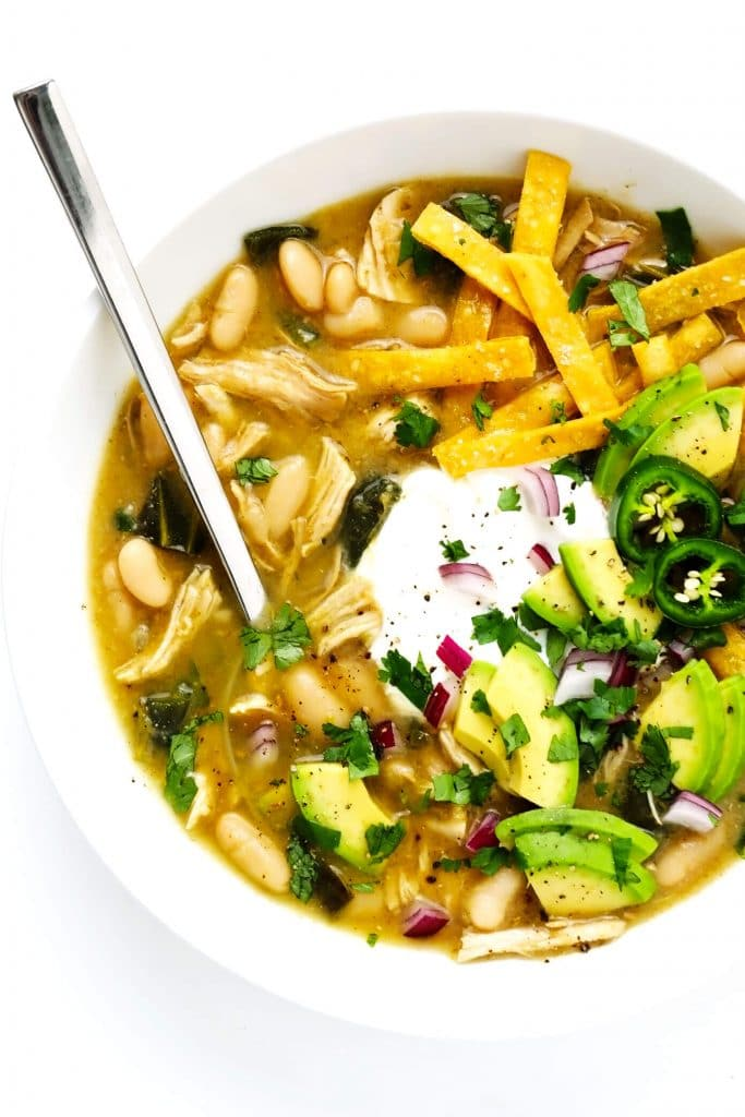 poblano white chicken chili from gimme some oven on the happy list