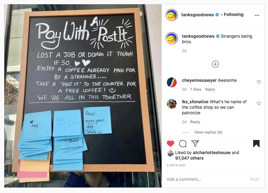 pay it forward post it notes at coffee shop via tanks good news on the happy list