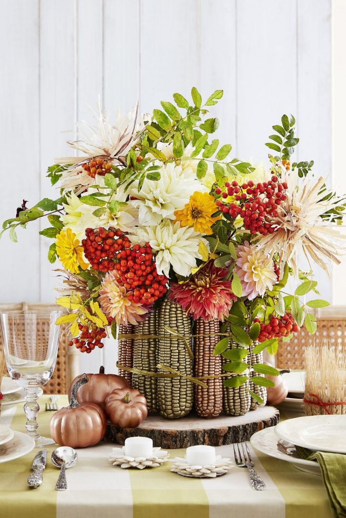 metallized maize centerpiece via country living on the happy list