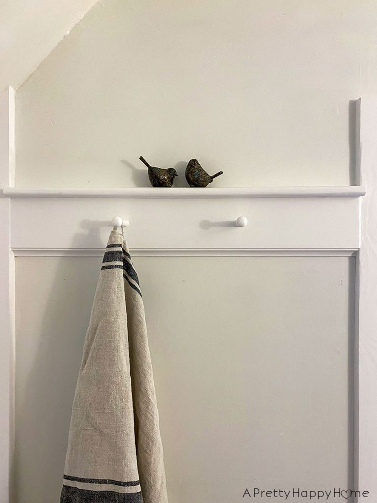 old new bathroom closet peg rail
