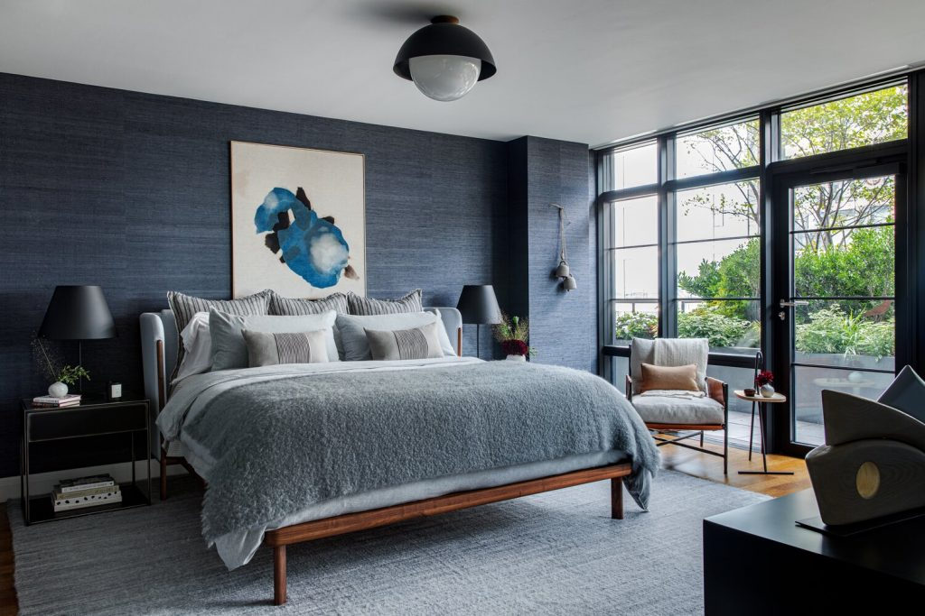 becky shea design blue grasscloth walls on the happy list