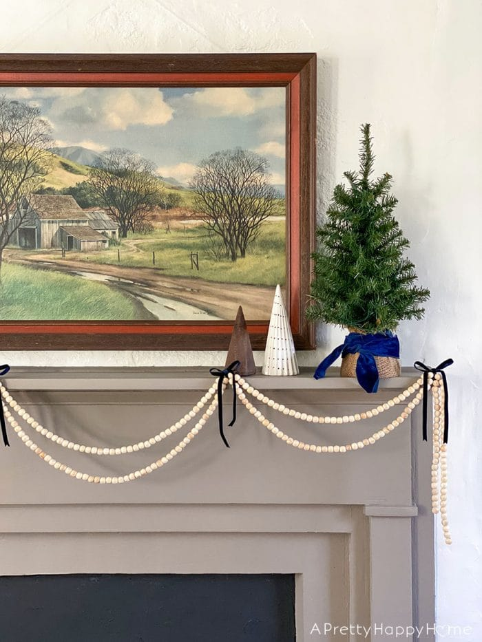 wood bead garland christmas mantel on the happy list